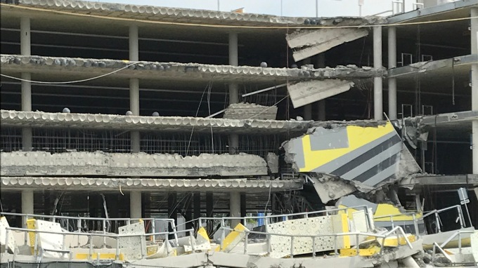 Close up of Eindhoven Airport Partial Building Collapse
