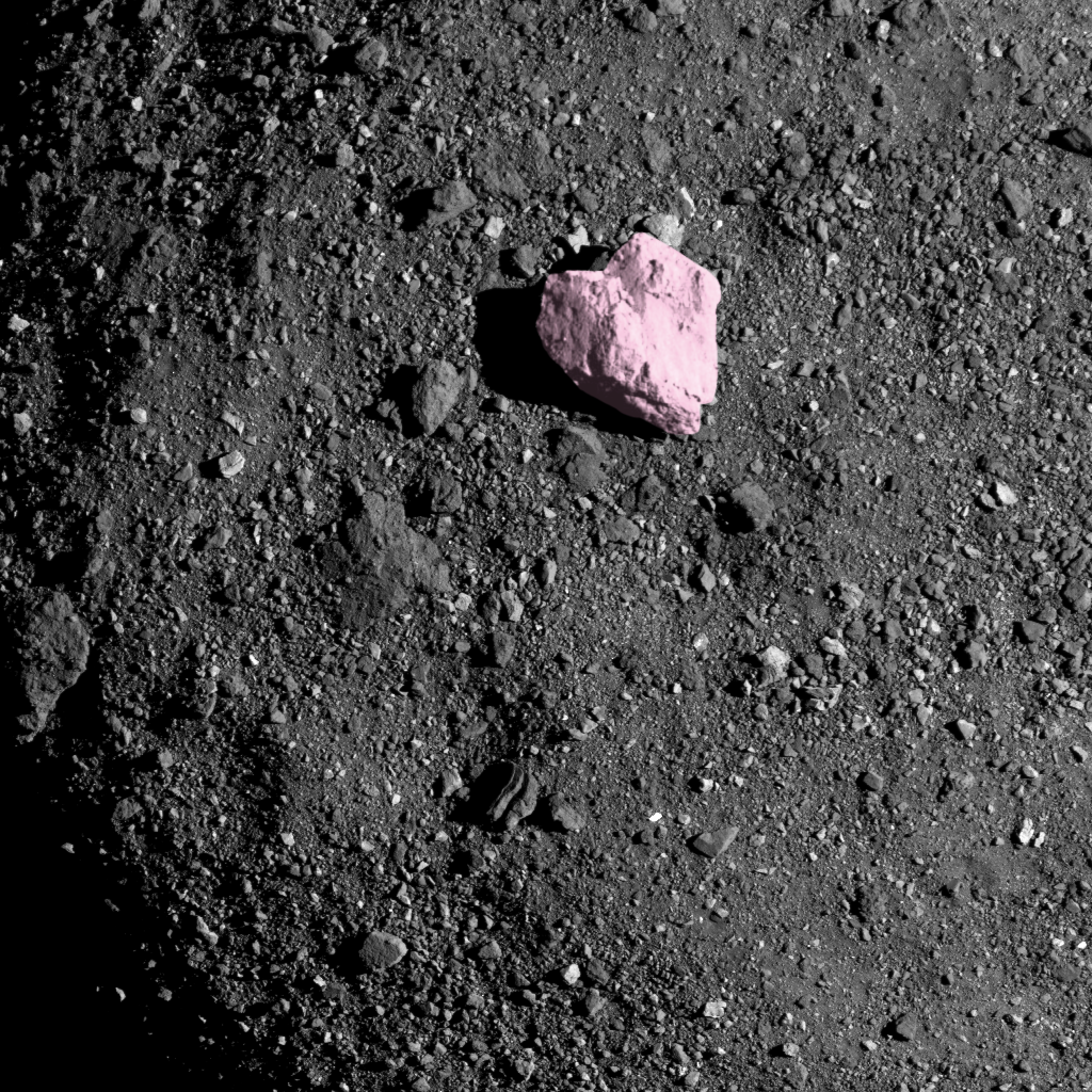 Bennu Boulder #1, 45m wide, largest boulder on Asteroid Bennu, Image rotated and boulder colourised, its a heart!