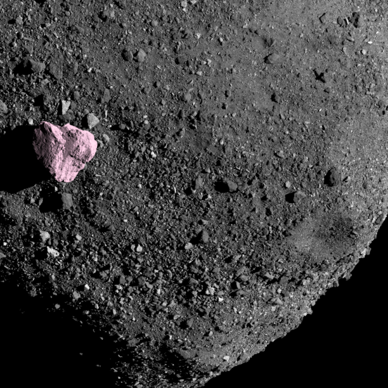 Bennu Boulder #1, Rotated and colourised the biggest boulder on Bennu (45m wide)